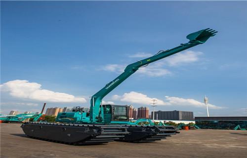 山西运城新绛水上勾机出租新款水陆两用挖机专业生产厂家